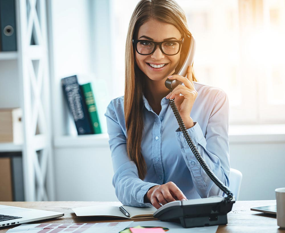 Women on business phone call